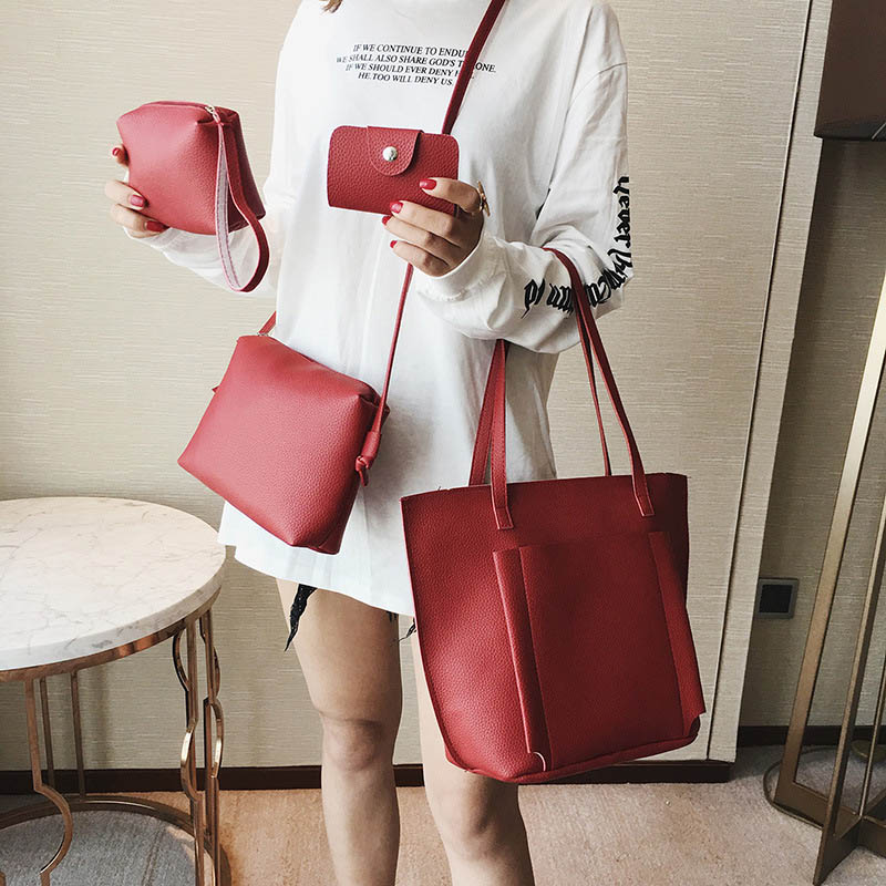 37cfbbc42ab90 4 Pcs/Set Fashion Women Messenger Bag Handbag Purse PU Leather Solid Color  Wallet Lady Girl Shoulder Crossbody Bags BS88-in Shoulder Bags from Luggage  ...