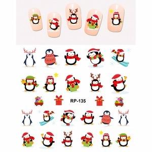 Image 1 - נייל אמנות יופי נייל מדבקת מים מדבקות מחוון קריקטורה חג המולד חג המולד ציפור חמוד פינגווין RP133 138