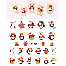 NAIL ART BEAUTY NAIL STICKER WATER DECAL SLIDER CARTOON CHRISTMAS XMAS BIRD CUTE PENGUIN RP133 138