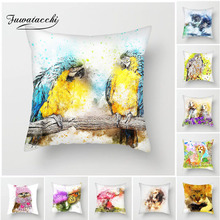 Fuwatacchi Animals Cushion Cover Parrot Lion Flamingo Throw Pillow Decorative Sofa Case Pillowcase