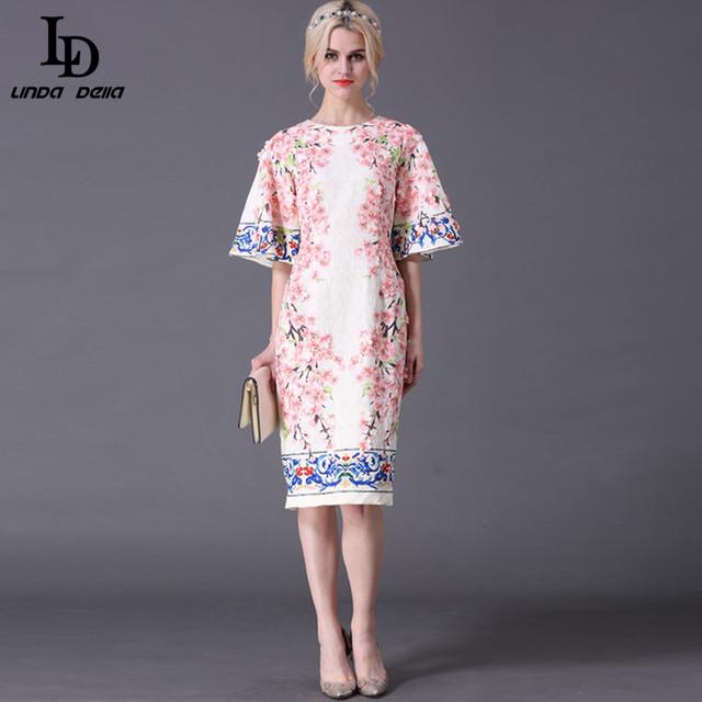Summer Style Flare Sleeve Slim Printed Jacquard Appliques Sheath Dress