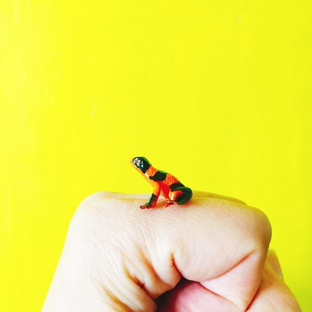 € 1.53 |1 pièces/grenouille orange/maison de poupée//miniatures/joli nain  de jardin/décoration de terrarium de ...