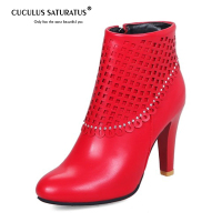 Cuculus 2019 Women Sexy Winter Boots Rhinestone Accessory High Heel Ankle Wedding Boots Round Toe Shoes Women Fur Footwear 1225