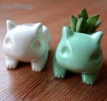 Dropshipping Kawaii Pokemon Ceramic Flowerpot Bulbasaur Planter Cute White Green Succulent Plants Flower Pot Hole Cute Mini Pot