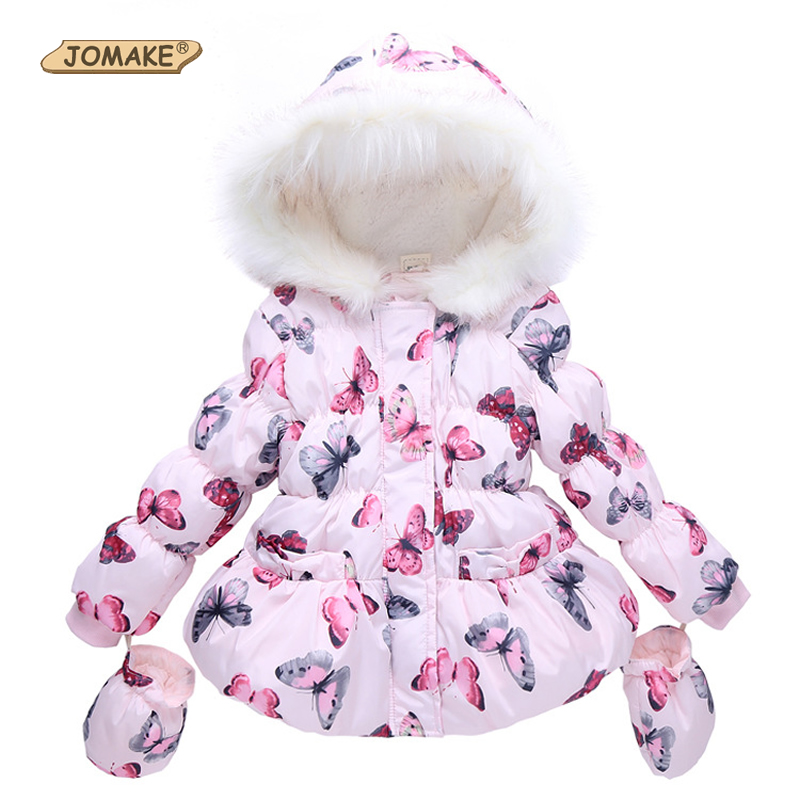 High Quality 2017 Brand Fashion Girls Winter Coat With Gloves Butterfly Printed Hooded Zipper Fleeced Baby Girl Winter Jacket