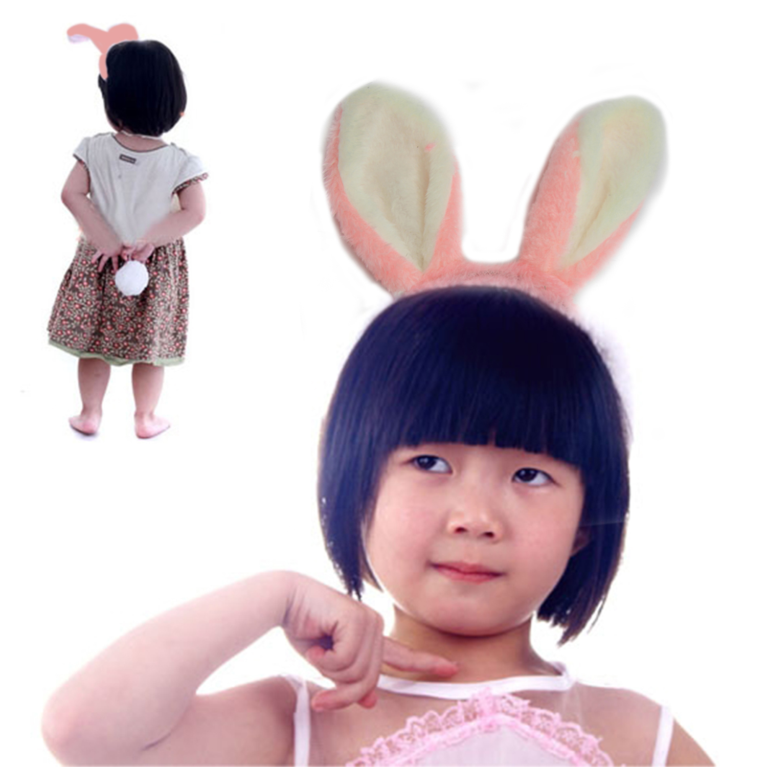 EASTER HEADBAND Ears Tail Decorations Kids Bunny Rabbit Baby Girls Boppers Toys