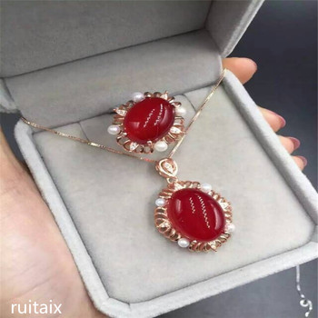 KJJEAXCMY boutique jewels 925 Pure silver inlay natural red jade medulla ring + pendant + earring set inlay drill plant sunflowe