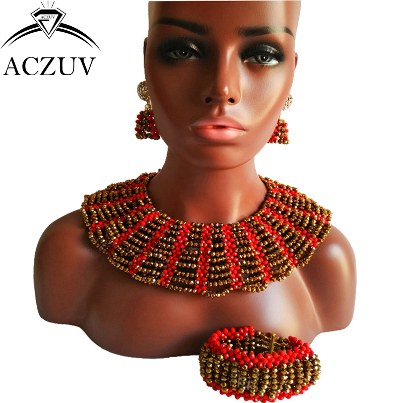 ACZUV Brand Golden and Red African Beads Jewelry Set for Women Nigerian Wedding Accessories AS004 aczuv brand opaque red african jewelry set nigerian wedding beads art005