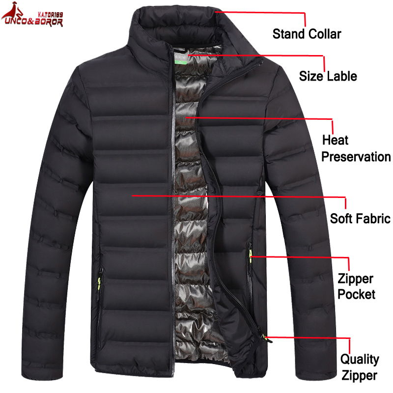 New Autumn Men`s Light Cotton Padded Parka Coat Winter Jacket Men Outwear Streetwear Sportswear Windbreakers Men Bomber Jackets(China)