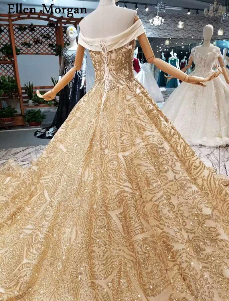 ... Glitter Shiny Gold Ball Gowns Wedding Dresses 2019 Custom Made Real  Photos Off Shoulder Long Train 49ba13c0e819