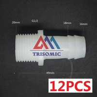 12 Pieces 16mm G1 2 Straight Connector Plastic Pipe Fitting Barbed With Thread Material PE Joiner