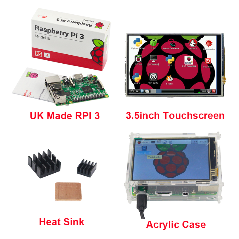 UK Made Raspberry Pi 3 Model B Board + 3.5 inch LCD TFT Touchscreen + Acrylic Case + Heat sink for RPI3 Free Shipping