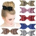 Women Hair Accessories Satin Sequin Hair  Ribbon Bow Girls Headband Headwear Hair Clip Barrette Ponytail Holder accessory