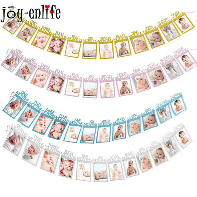 JOY-ENLIFE 12pcs/set 12 Months Photo Banner Baby Girl Boy First Birthday Party Decorations Baby Photo Frame Party Home Decor