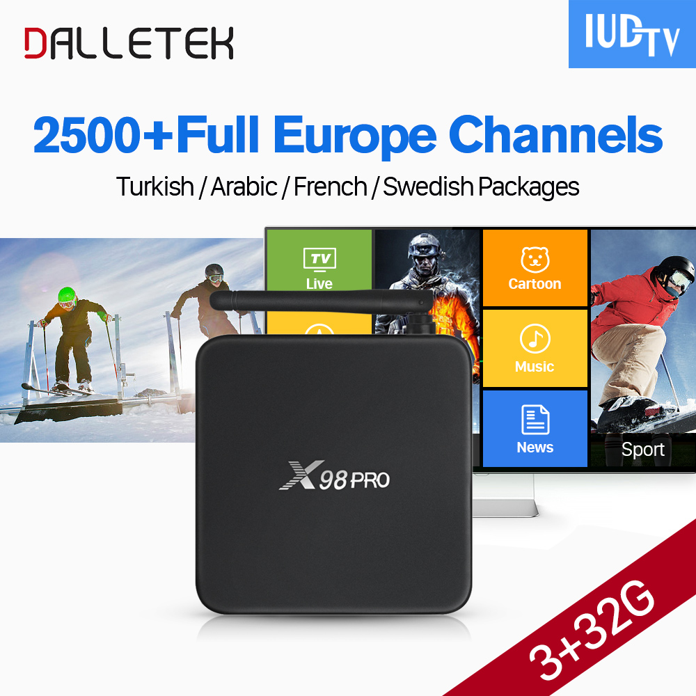 Dalletektv 3G 32G S912 X98 PRO Android 6.0 Smart TV Box Arabic French Europe Channels IUDTV Code IPTV Subscription IPTV Top Box dalletektv arabic iptv box leadcool android tv box 1 year code iptv subscription channels europe french turkish iptv top box