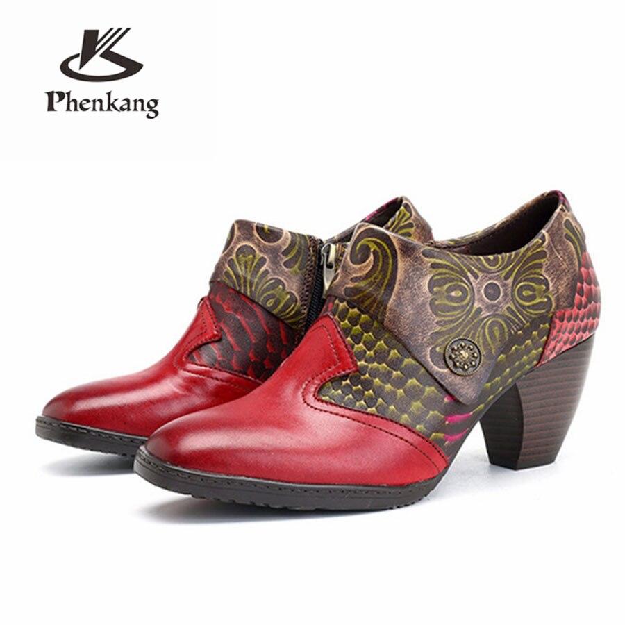 Oxford 100 Sandales En Pour La Femmes Pompes Cuir Vache 2019 Véritable Main Red Vintage Chaussures Dame À Rouge Casual Rétro Printemps rErAZq0wx