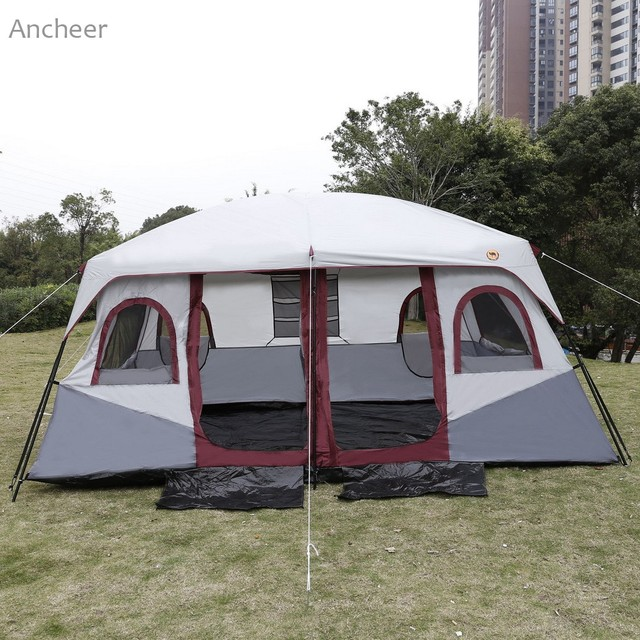 ANCHEER NEW Outdoor Tent Camping Tent 8-10 Person 2-Bedroom Outdoor Camping Hiking Tent Dual Layer Waterproof UV protected