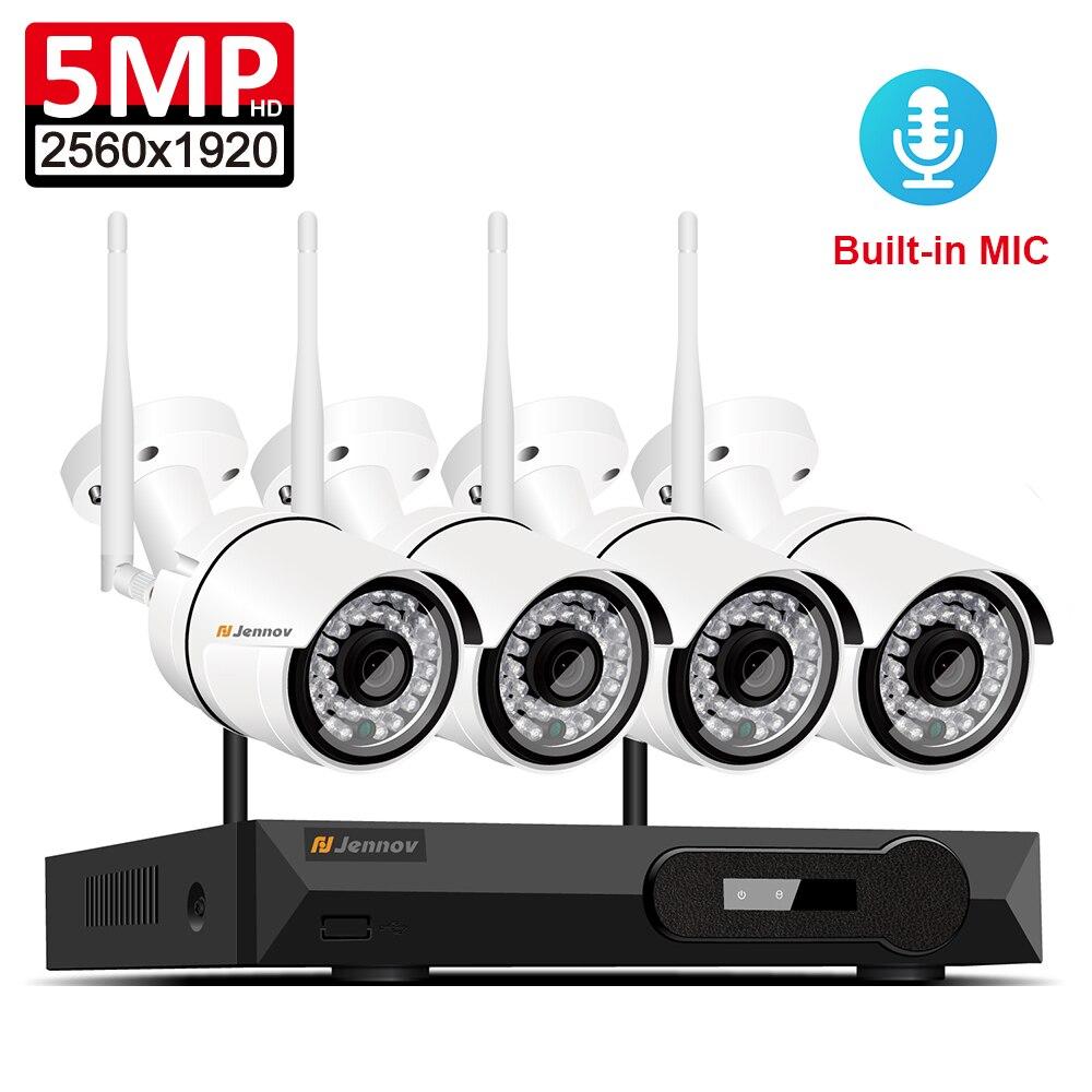 Enregistrement Audio 5MP H.265 Full HD Home Wifi Sans Fil CCTV Caméra Système NVR Vidéo Surveillance Système WI-FI Caméra de Sécurité Système