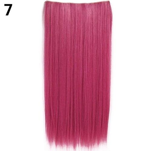 Clip In Colorful Hairpiece Synthetic Straight Hair Cosplay Ponytail Extensions ...