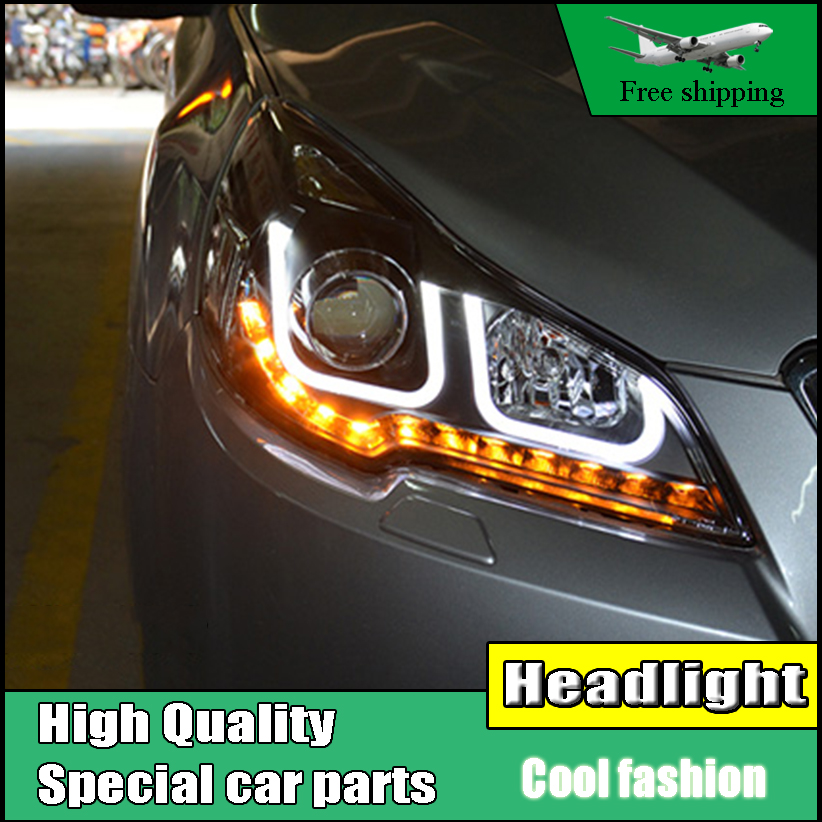 Car styling Head lamp For Subaru Outback Legacy 2010-2014 headlights U angel eyes DRL LED light bar DRL bi xenon lens h7 xenon car styling for honda crv headlights u angel eyes drl 2012 for honda crv led light bar drl bi xenon lens h7 xenon