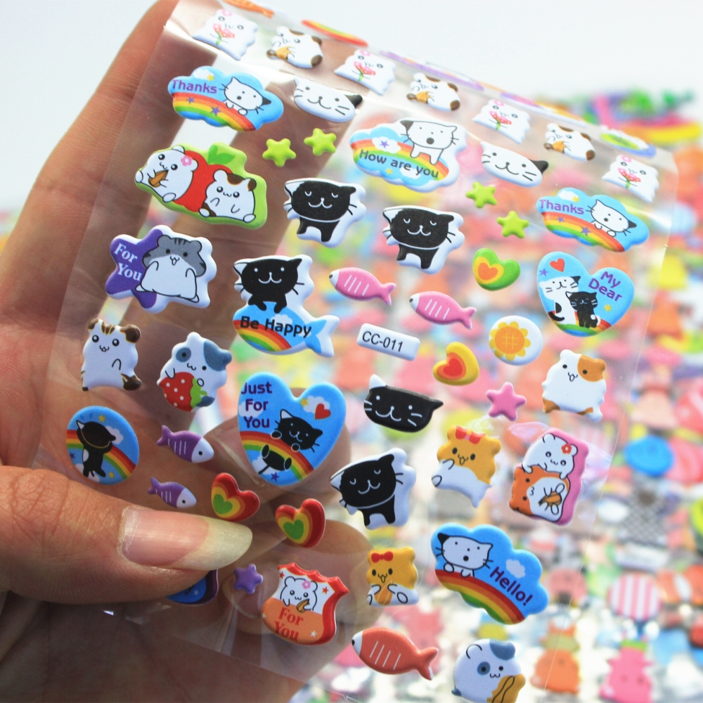 1Sheet Cute Cat Diary Decoration Kids Stickers 3D PET bubble stickers Gift Children Toys CC