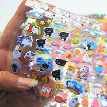 3 Sheet Cute Cat Diary Decoration Kids Stickers 3D PET bubble stickers Gift Children Toys CC