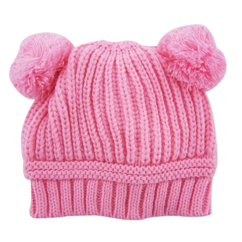 Toddler Children Caps Baby Caps Boys Girls Dual Ball Knitted Crochet Beanie Hairball Ear Baby Hats S08