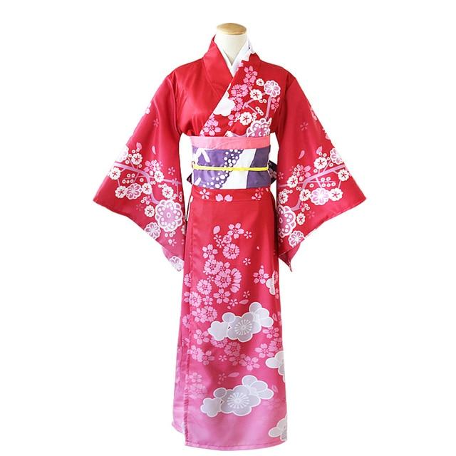 Anime Cosplay Costume Japanese Women Kimono With Obi Casual Yukata Bathrobe Gown Floarl Elegant Girl Robe Halloween Clothes