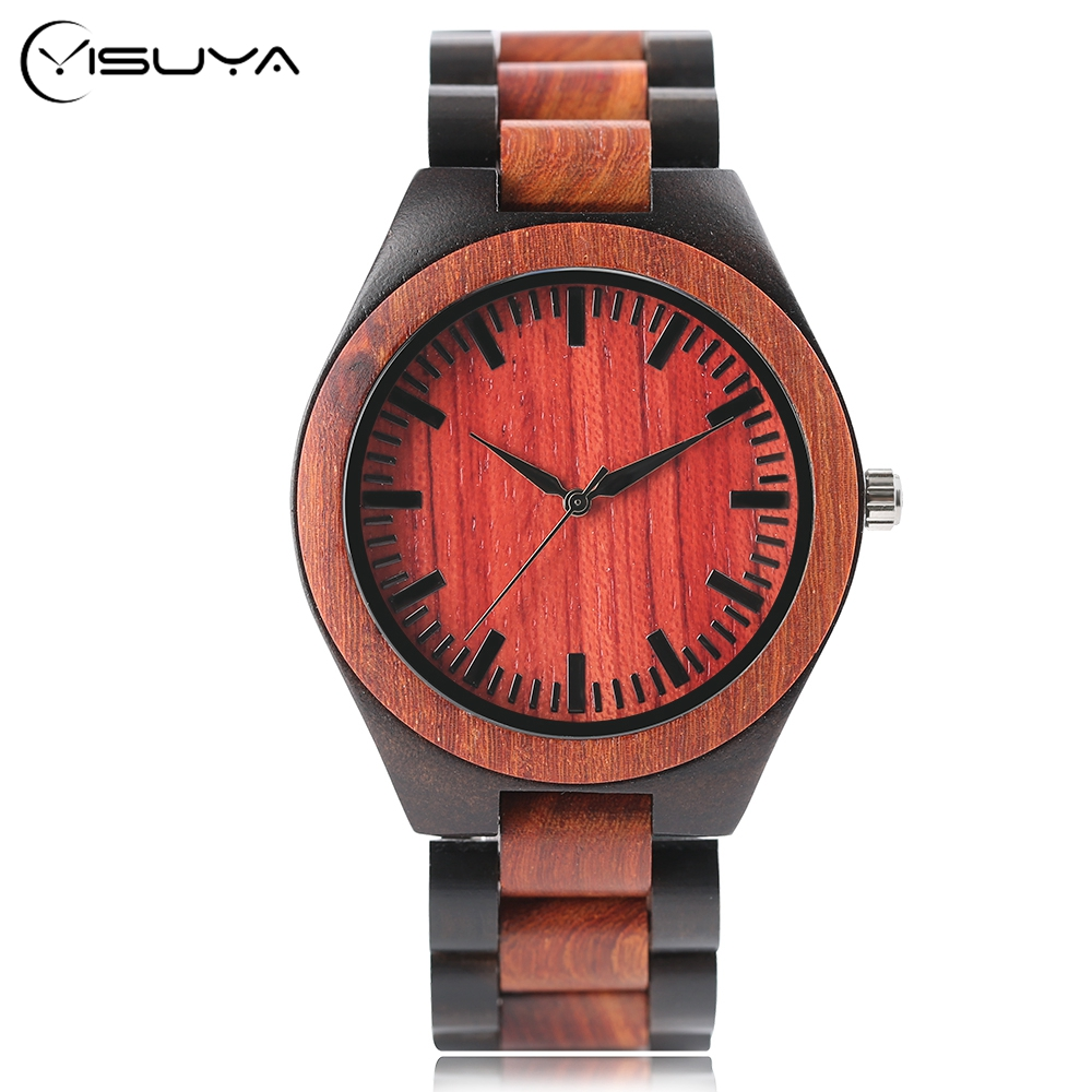 Men's Full Bamboo Watches Natural Quartz Clock Wooden Bamboo Creative Watch Wood Watch With Bamboo Band relogio feminino ttlife men fashion black sandal bamboo wood watch creative 12 holes real leather band business watch casual quartz clock wd204