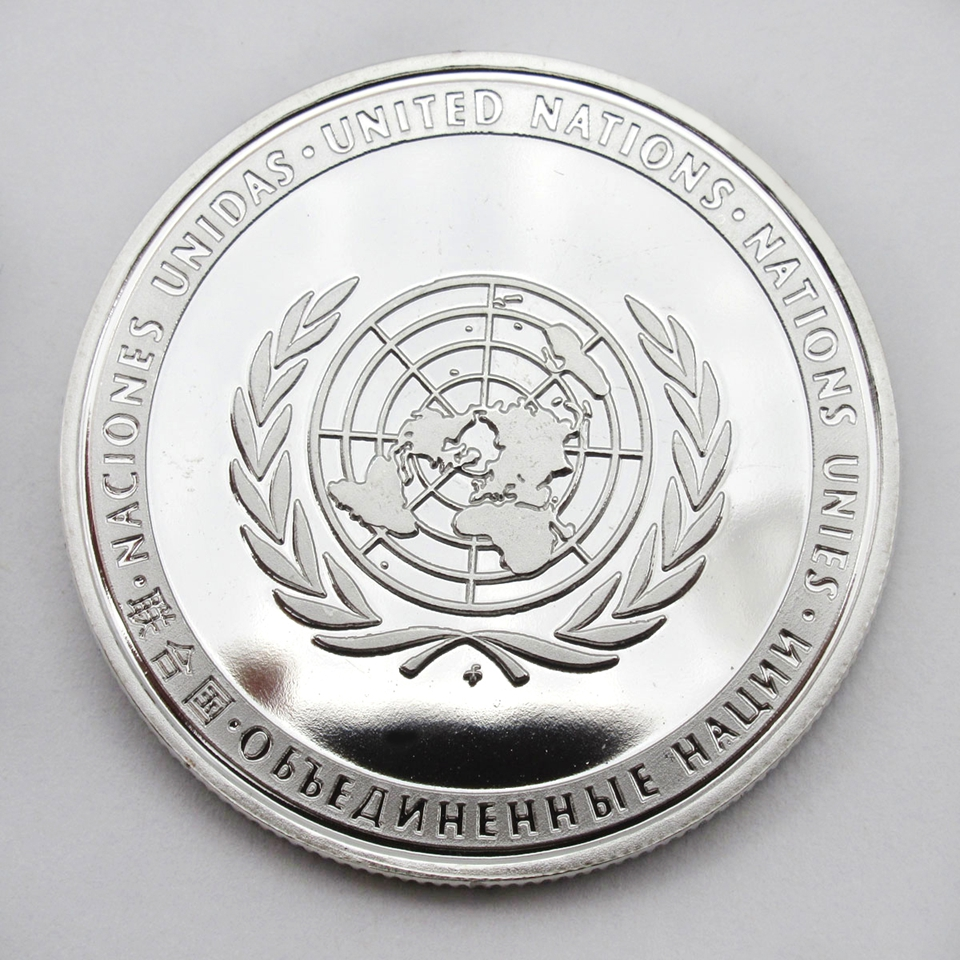 Coin Art 1PC United Nations Peacekeeping Operations UN en permanente leden Medal Peace Sliver Coin Collection Gift