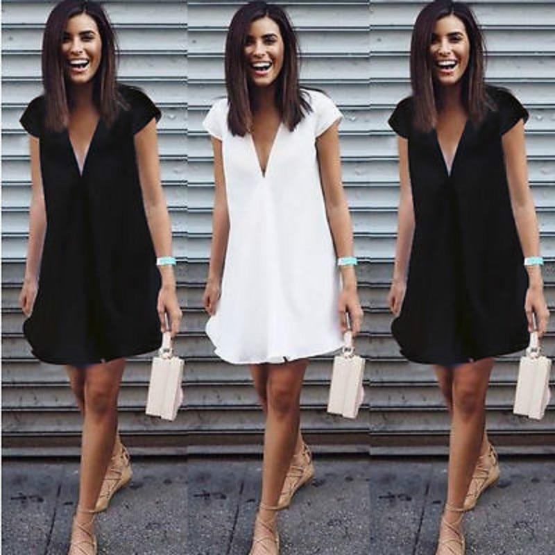 Short Mini Black Dress New Sexy Women Summer Deep V-Neck Dresses Casual Plus Size White Summer Clothes