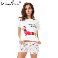 Weihnachten Pyjama Sets Frauen Dackel Mit Santa Hut Hund Druck 2 stück Set Crop Top + Shorts Elastische Taille Lose pyjamas S7N001