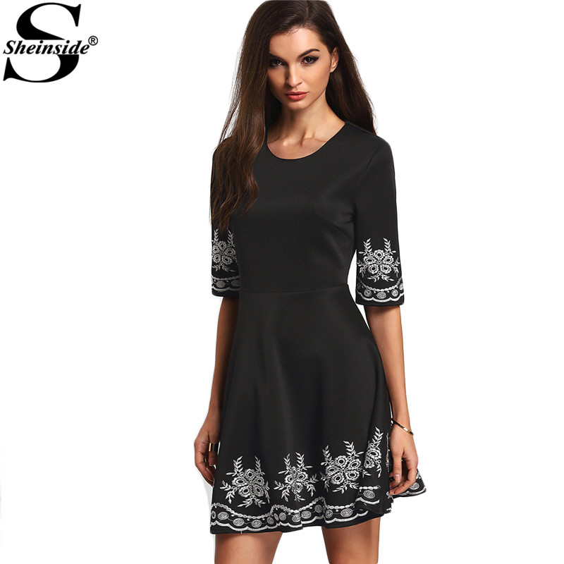 Buy Cheap Sheinside A-line Boho Dresses Summer Style Vintage Women 2016 New Arrival Ladies Black Half Sleeve Embroidered Flare Dress