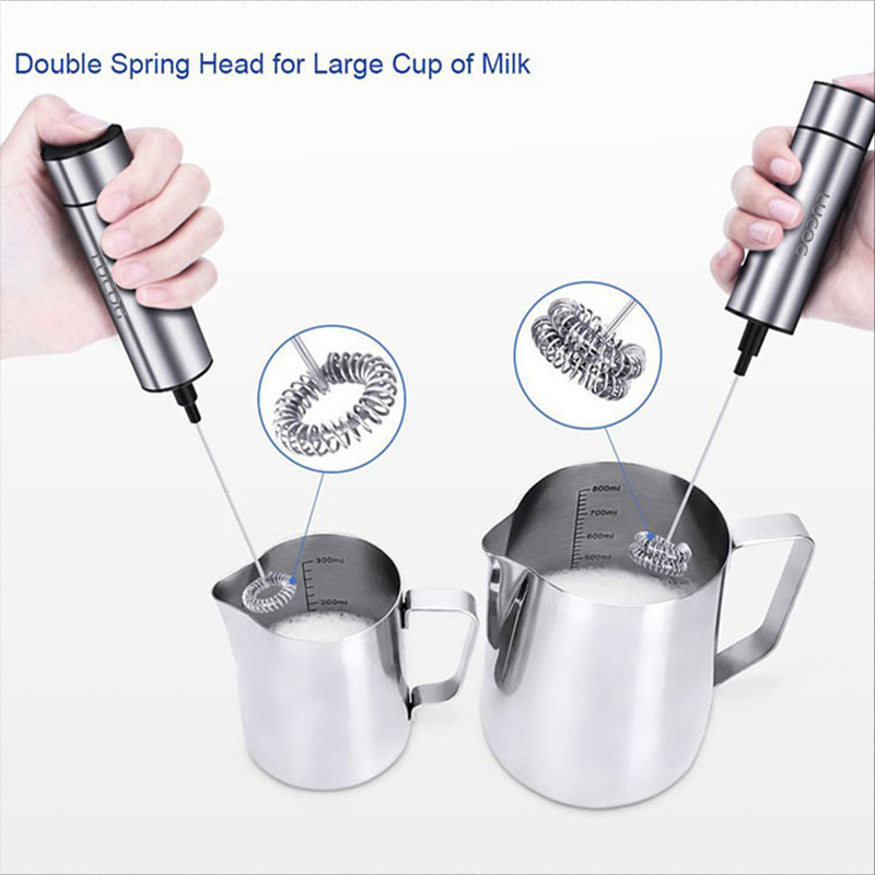 Powerful Double Spring Whisk Electric Milk Frother Kitchen Mixer Hand Milk Foamer for Coffee  (2)