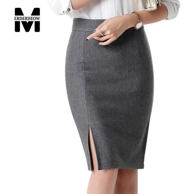 1e54057d4575b0 Merderheow Top quality OL Style Pencil Skirt Elegant slim Hips Women high  waist Skirt office Work Knee-length Skirts Ladies L460