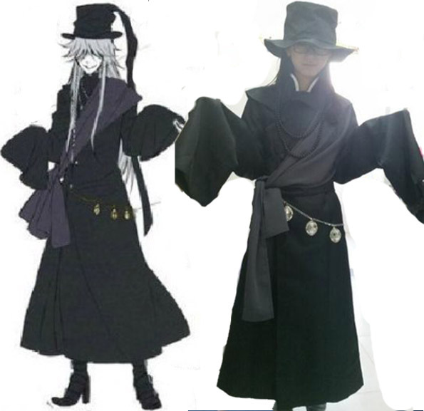 New Anime Black Butler Kuroshitsuji Undertaker Cosplay Costume Full Set