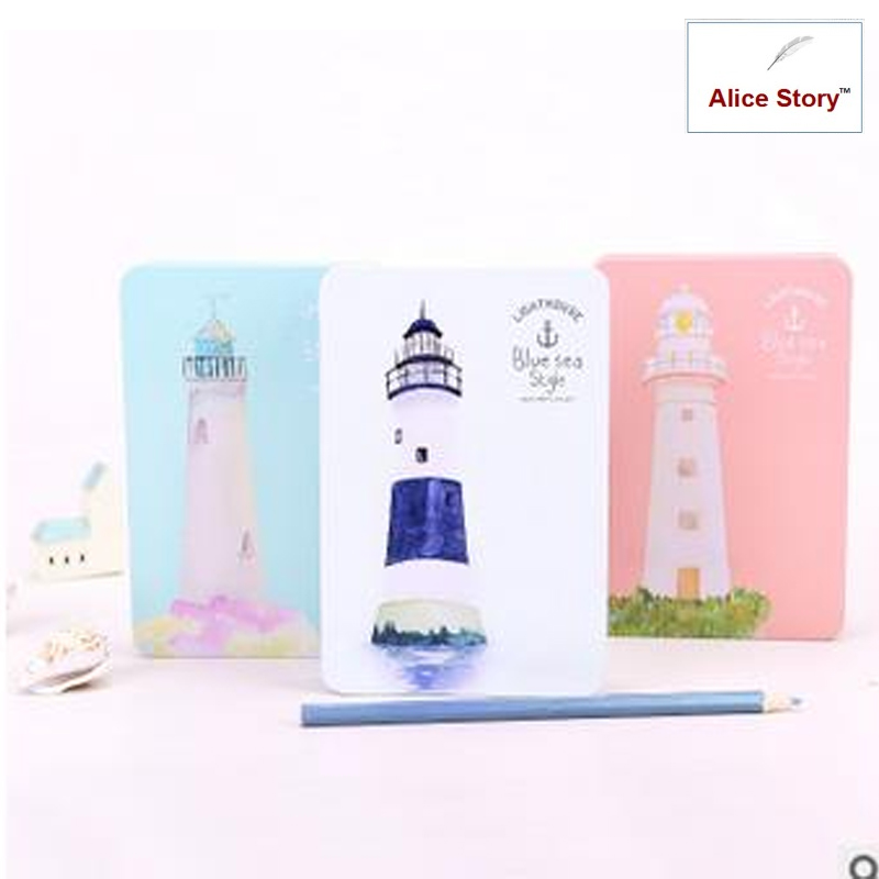 Blue sea lighthouse special design metal hardcover dairy notebook travel journal stationery gift vintage 95x178mm