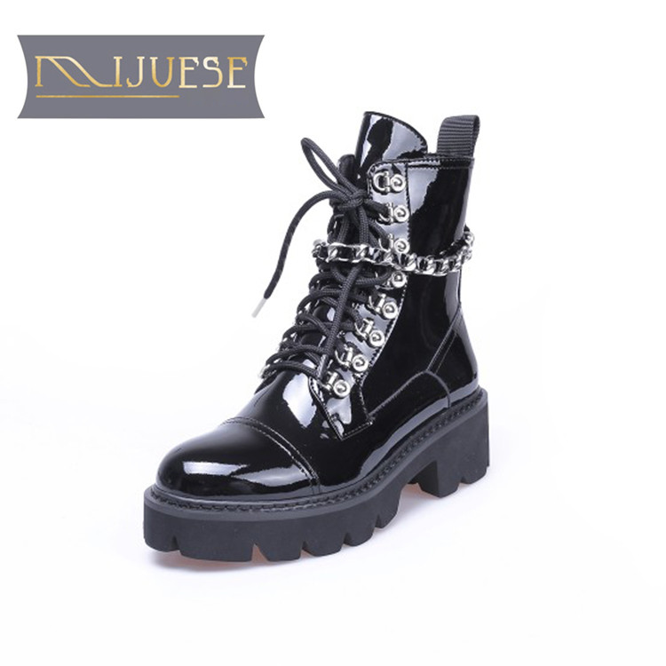 MLJUESE 2019 women ankle boots patent leather chains short plush winter warm fur platform boots low heel women martin boots