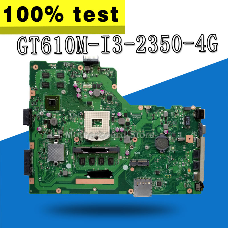with i3 cpu 4GB RAM GT610M X75VD Motherboard For ASUS X75V X75VD Laptop Motherboard X75VD mainboard original for asus x75vd motherboard x75vd rev3 1 mainboard processor i3 2350 gt610 1g ram 4g memory on board 100% test