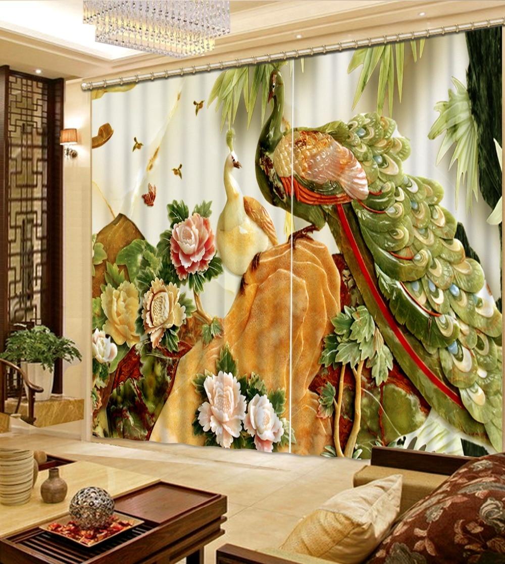 marble curtains European Curtains Photo Painted 3D Curtain Living room peacock curtains