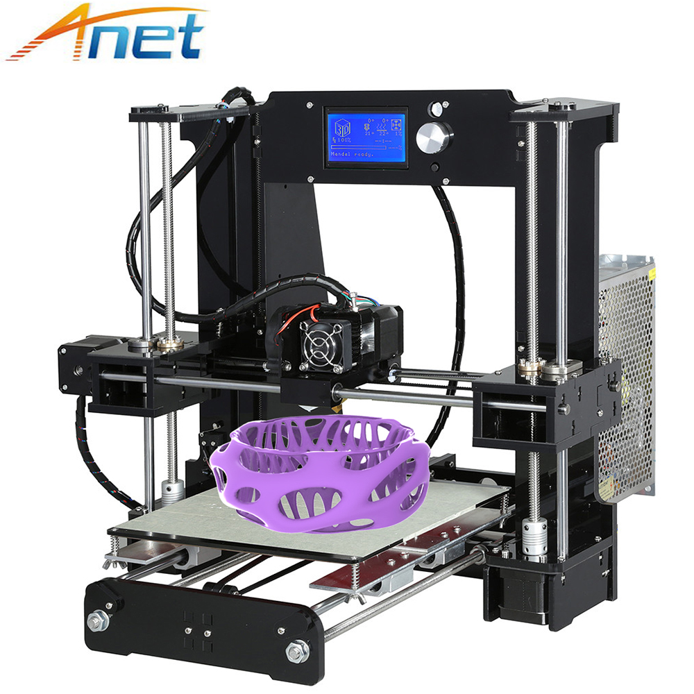 Easy Assemble Anet A6 A8 3D Printer Kit High Precision Reprap i3 DIY Large Size 3D Printing Machine+ Hotbed+Filament+SD Card+LCD anet a2 high precision desktop plus 3d printer lcd screen aluminum alloy frame reprap prusa i3 with 8gb sd card 3d diy printing
