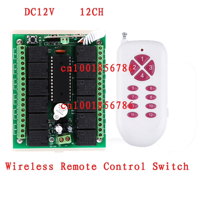 RF Wireless remote control switch 12v 12ch garage door remote control livolo learning code light relays momentary switches [vk] mcbc1250cl ssr 50a burst fire control 10v relays