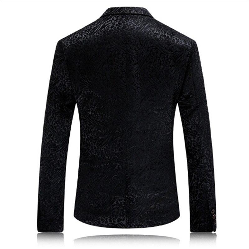 Olid negro chaqueta estampada de hombre de moda de hombre ropa fiesta etapa trajes para los cantantes Slim Fit abrigo blazer de hombre M 4XL - 3