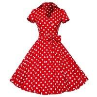 Kobiety Panie Hepburn Styl Sukienka Letnia Polka Dot Krótki Rękaw Talia Big Swing Rockabilly Tutu Sukienki Plus Size