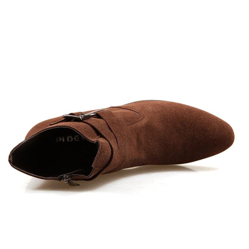 Boucle De Bottes Noir Talon Mâle Chameau Cuir Classique Brun Misalwa Chelsea Cheville brown Boots Équitation Suédé Hommes Boots Naturel Élégant En Mode Black 5qwzSA6An