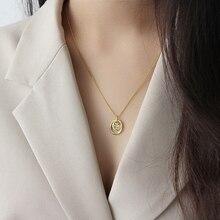 LouLeur 925 فضة غير النظامية دائرة قلادة قلادة طويلة سترة سلسلة قلادة أنيقة للنساء الصداقة مجوهرات