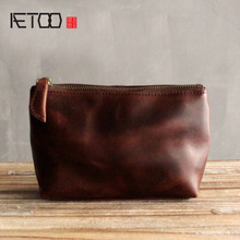 AETOO Original leather simple portable font b makeup b font bag head layer of leather ladies