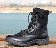 Letnie buty wojskowe mężczyźni botas hombre buty wojskowe skórzane światło na zewnątrz wysoko górne siatkowe oddychające wojskowe buty taktyczne tanie tanio BabeBcBd Buty motocyklowe Stretch Spandex ANKLE Stałe Dla dorosłych Płótno latex Mesh (air mesh) Okrągły nosek RUBBER