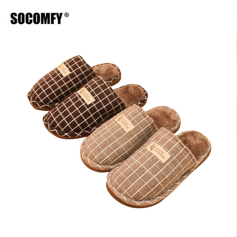 SOCOMFY Winter Men Slippers Indoor New Autumn Winter Warm Fashion home Silent Non-slip Shoes Man Slides Flat Casual Plus Size mulinsen new 2017 autumn winter men