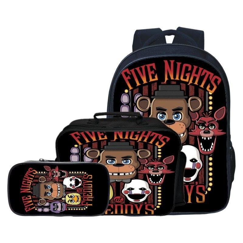 New Style 3pcs/set Five Night At Freddy Kids Baby School Bags FNAF Cartoon Children Backpacks for Boys Schoolbag Girls Bookbag new style school bags for boys